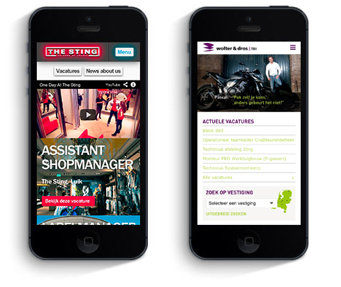 Careers website on a mobile phone