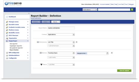 Screenshot of iCams report builder tool